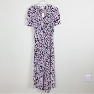 Maje Silk Pink Floral Rivera Surplus Midi Dress